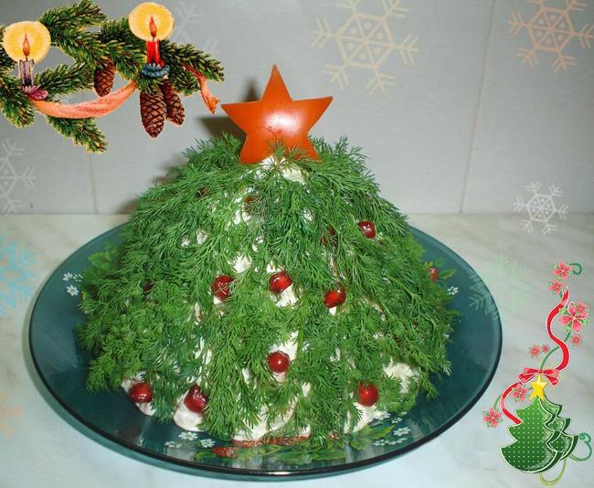 Фото 4: Новогодняя сервировка салата оливье