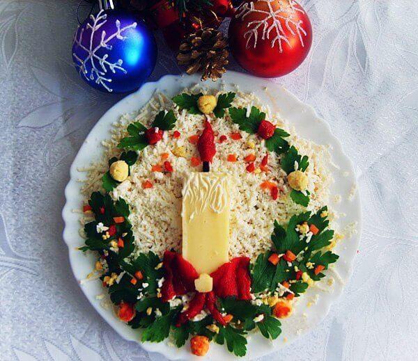 Фото 8: Новогодняя сервировка салата оливье