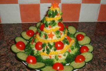 Фото 11: Новогодняя сервировка салата оливье