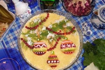 Фото 7: Новогодняя сервировка салата оливье