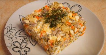 Рецепт оливье с отварным говяжьим или свиным языком