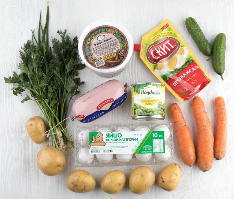 Перечень ингредиентов для оливье, все продукты для салата