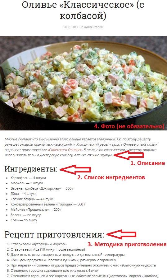 Скрин рецепта оливье, добавленного на сайт в соответствии с правилами